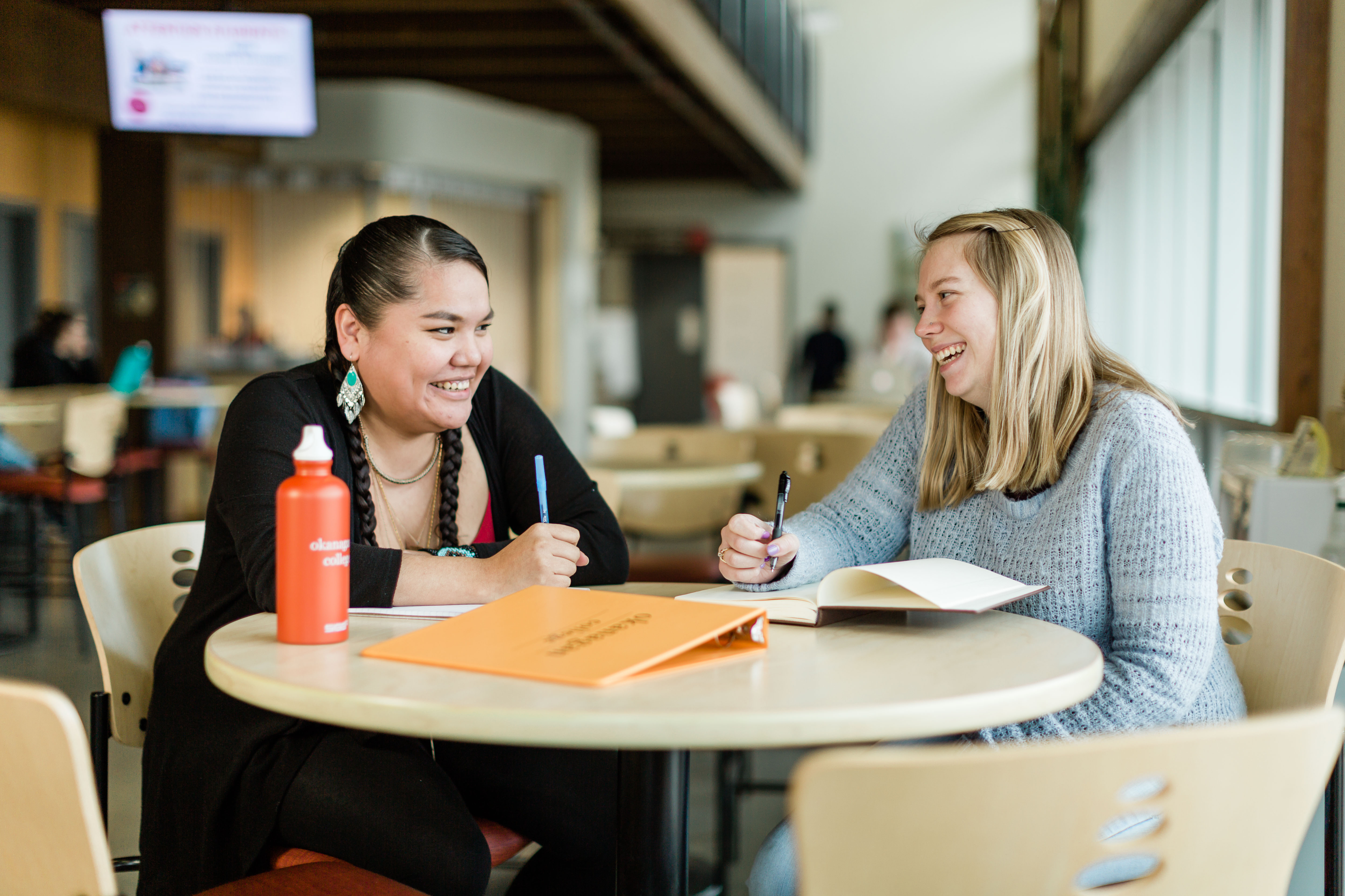 Students hang out in between classes at the Penticton campus