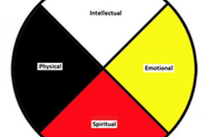 Indigenous medicine wheel displaying intellectual, educational, spiritual and physical categories