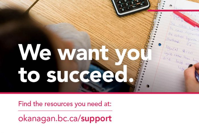Student writing on paper with text overlaid saying we want you to succeed