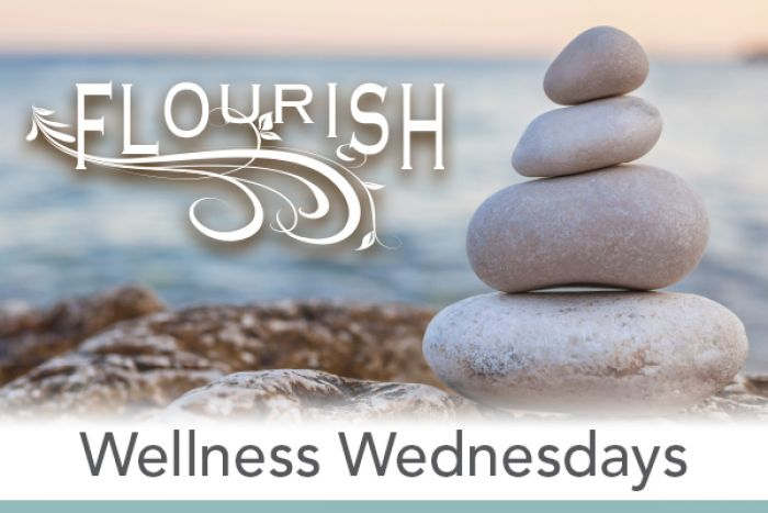 "A tranquil and calm beach scene with stacked rocks with text overlain that reads ""Flourish Wellness Wednesdays"""