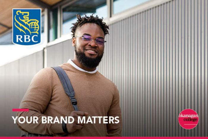 "Student standing outside college building with ""Your Brand Matters"" text overlain with OC and RBC logos"