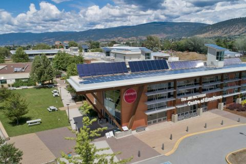 Penticton campus of Okanagan College from a bird's eye view.