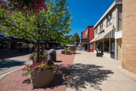 Downtown Salmon Arm is a vibrant place of shopping.
