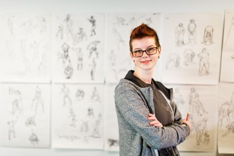 Animation student displays her creative work