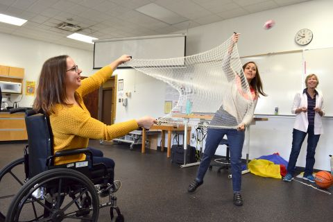 Students demonstrate recreational activities to help clients move and improve their health