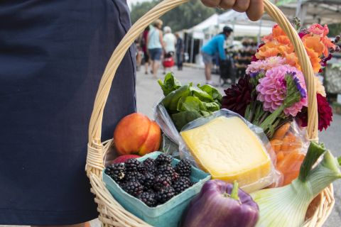 Vernon's farmers market offers homegrown produce and food.