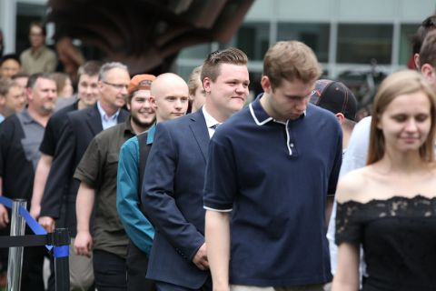 trades students lined up for graduation