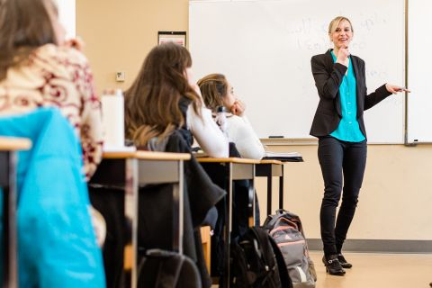 Sociology instructor Anelyse Weiler makes a point during class
