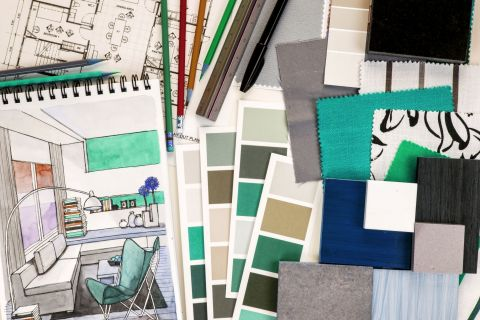 Colour swatches and interior decorating samples