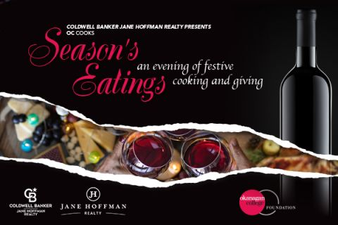 An event image for Season's Eatings showing food and two wine glasses.