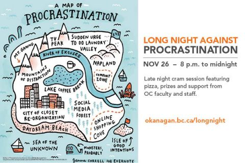 Long Night Against Procrastination poster with a map showing all the ways we distract ourselves, plus the Nov. 26 date of the event
