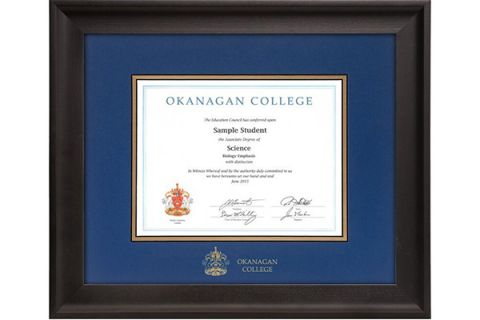 Diploma frames for purchase through the Alumni Association