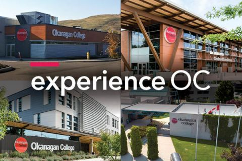 experience oc wordmark overlay on images of the fours campuses