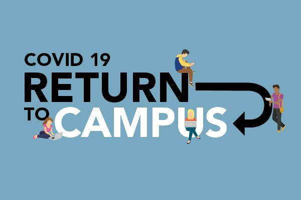 """""""COVID-19 Return to Campus"""" text on blue background with illustrated students hanging out around the letters and graphics."""
