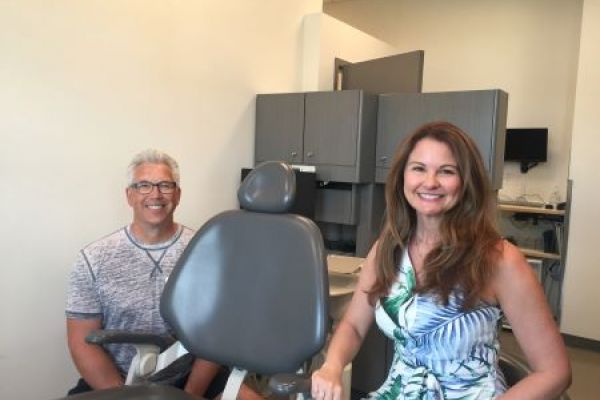 Gary and Sharmaine Powell in the dental clinic at Okanagan College's Health Sciences Centre.