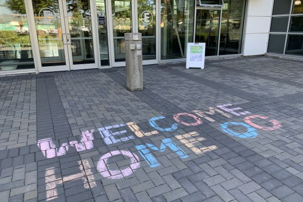 Chalk welcome home sign