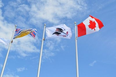 British Columbia, Okanagan Nation Alliance and Canadian flags