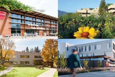 Grid of images from OC campuses, clockwise from top left: Penticton, Vernon, Kelowna and Salmon Arm