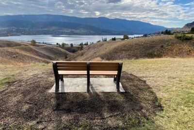 Wooden bench constructed at Vernon campus looks out over Kalamalka Lake