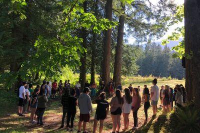 Morning circle at an IndigenEYEZ youth camp at Sts'ailes. Photo by Kelly Terbasket.