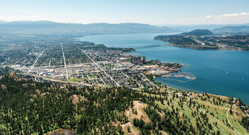 Aerial view of Kelowna and Okanagan Lake