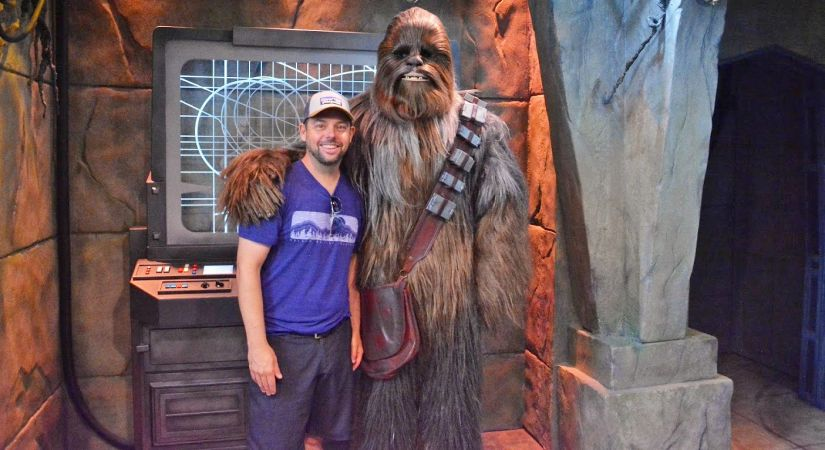 Entrepreneurship Professor Andrew Klingel hangs out with Chewbacca during a holiday break